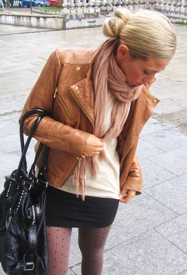 women clothing outfit fashion style apparel Brown Leather