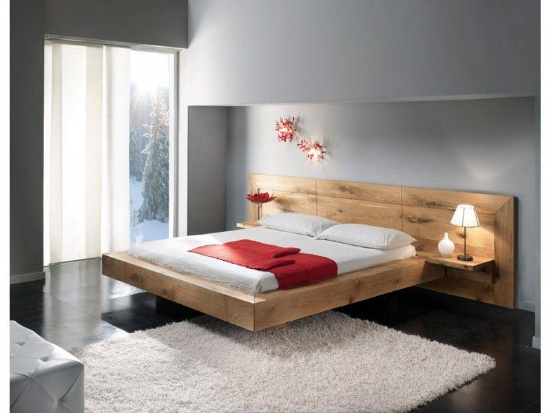 Lit contemporain ch ne massif chambre solid oak - Chambre a coucher moderne en bois massif ...