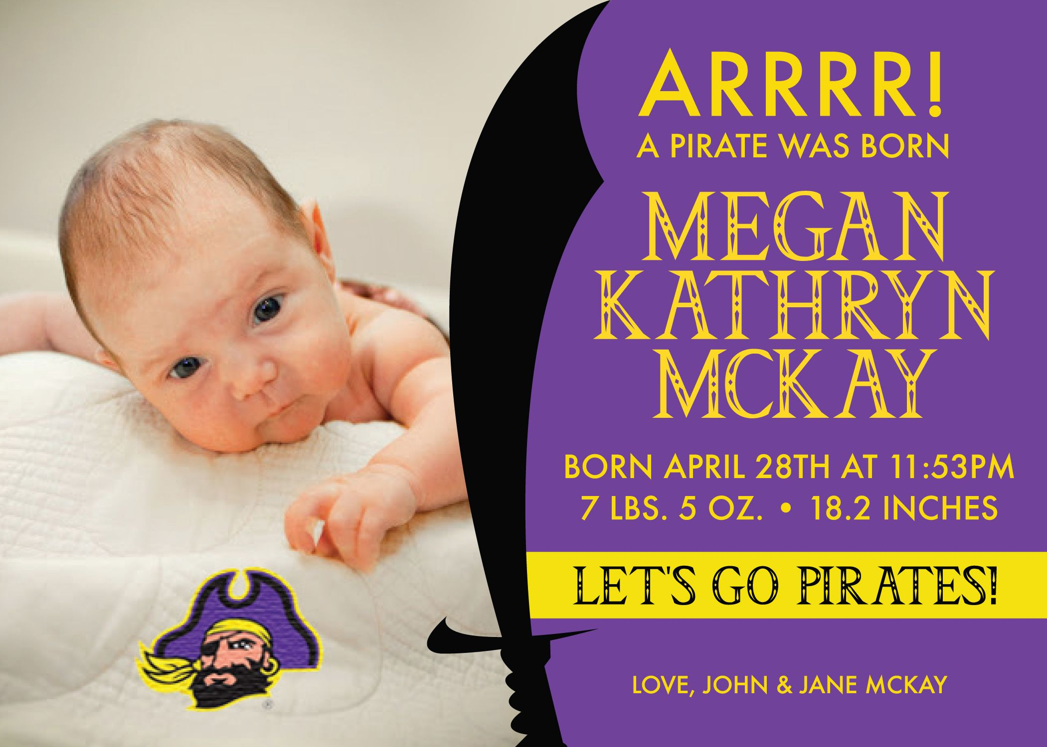 Color printing ecu - East Carolina University Ecu Pirates Inspired Baby Purple And Gold Announcement Let S