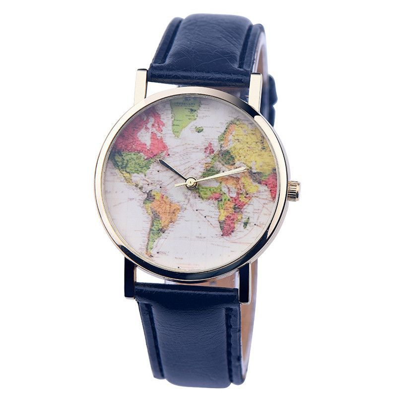 Premium Leather World Map Watch in 2019 | Map watch, Watches ...