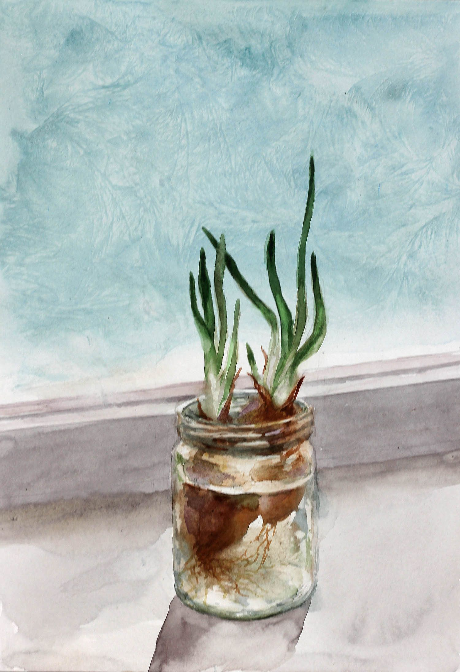 Green Onion Winter Window Original Watercolor Painting Art Kitchen