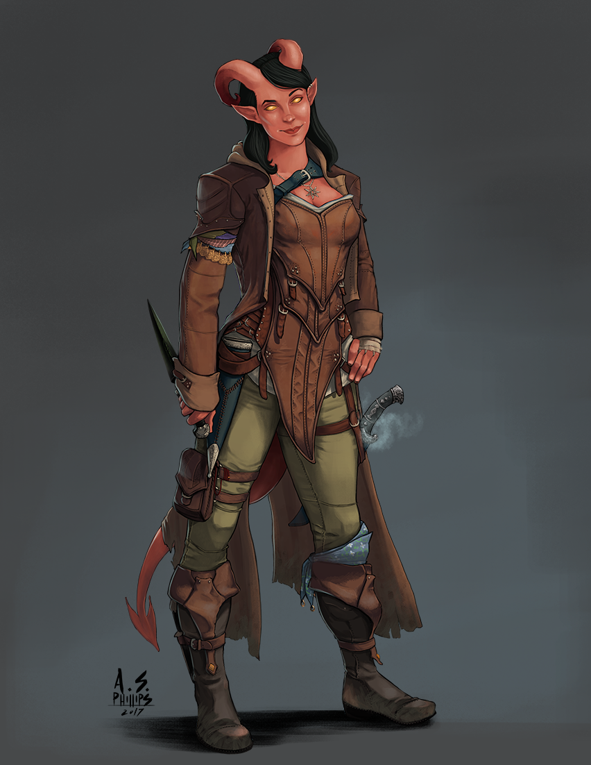 Tiefling, female, dual daggers   Characters - Rogues   Rogue