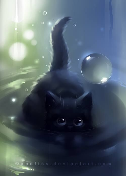 Pin By Mizz Dizz On Cute Draw Cat By Apofiss Deviant Art Cat Art Devian Art Black Cat Art