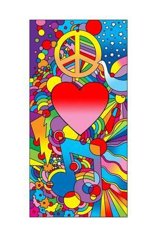 Peace Love Music Giclee Print Howie Green Art Com In 2020 Peace Sign Art Hippie Art Psychedelic Art