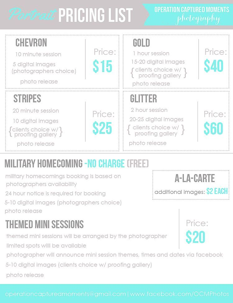 Cute Price List  Photography  Pricing Menu  Bloomshoot