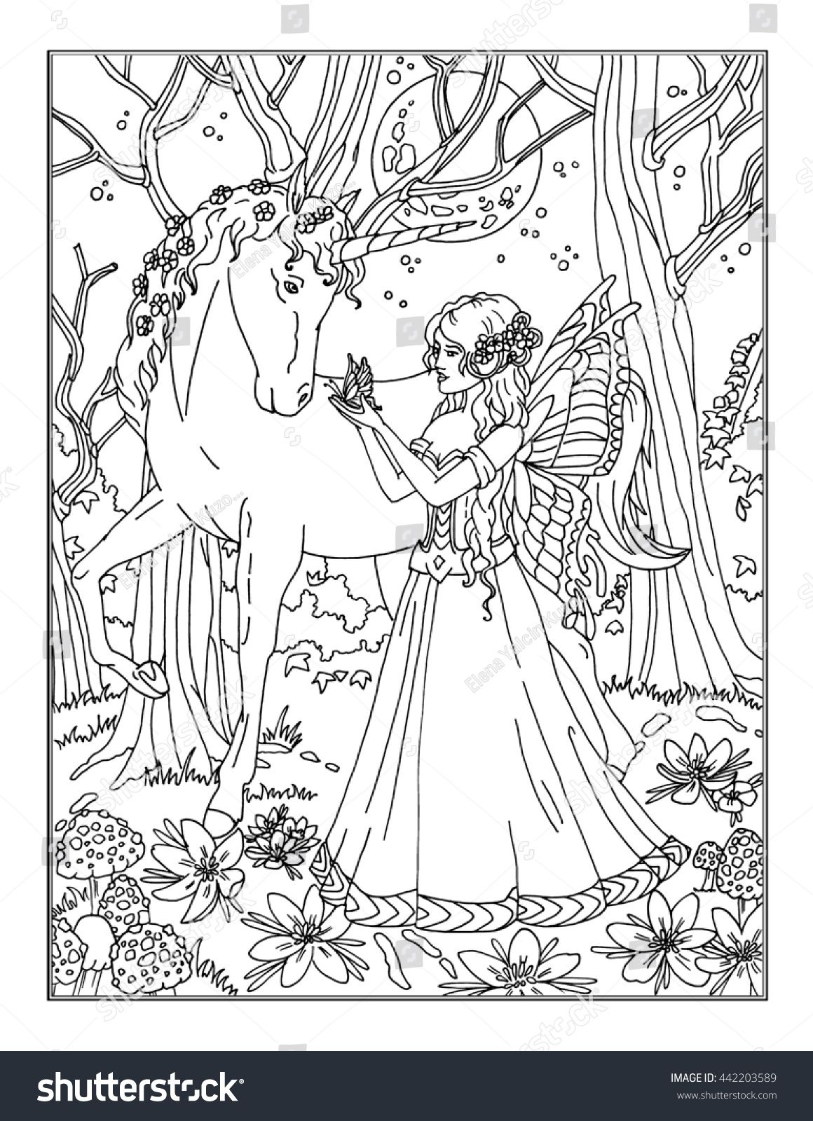 Stock Photo Coloring Page The Enchanted Fairy 442203589 Jpg 1 160 1 600 Pixel Fairy Coloring Pages Coloring Pages Fairy Coloring