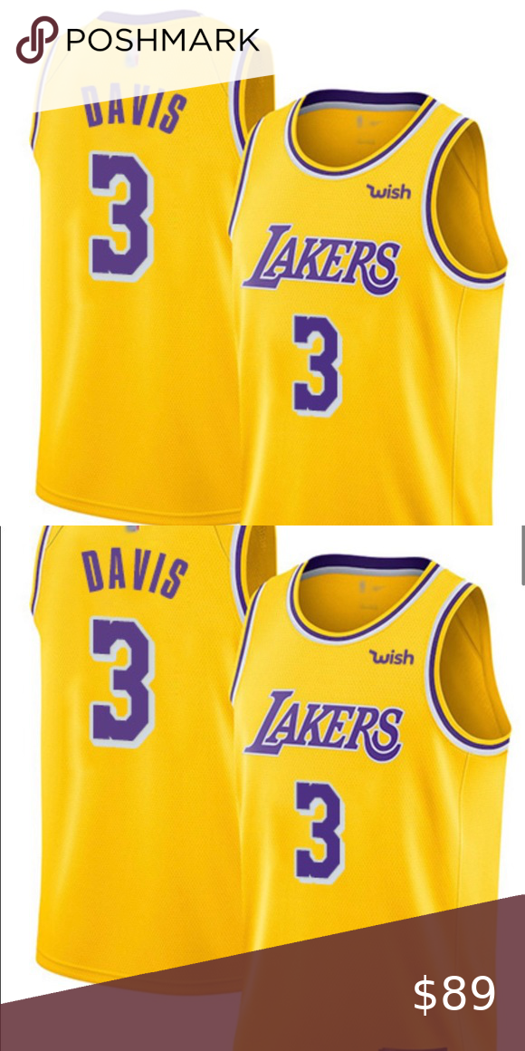 Lakers 3 Anthony Davis Gold Basketball Jersey Nwt Lakers 3 Anthony Davis Gold Basketball Swingman Icon Edition Jersey In 2020 Anthony Davis Basketball Jersey Jersey