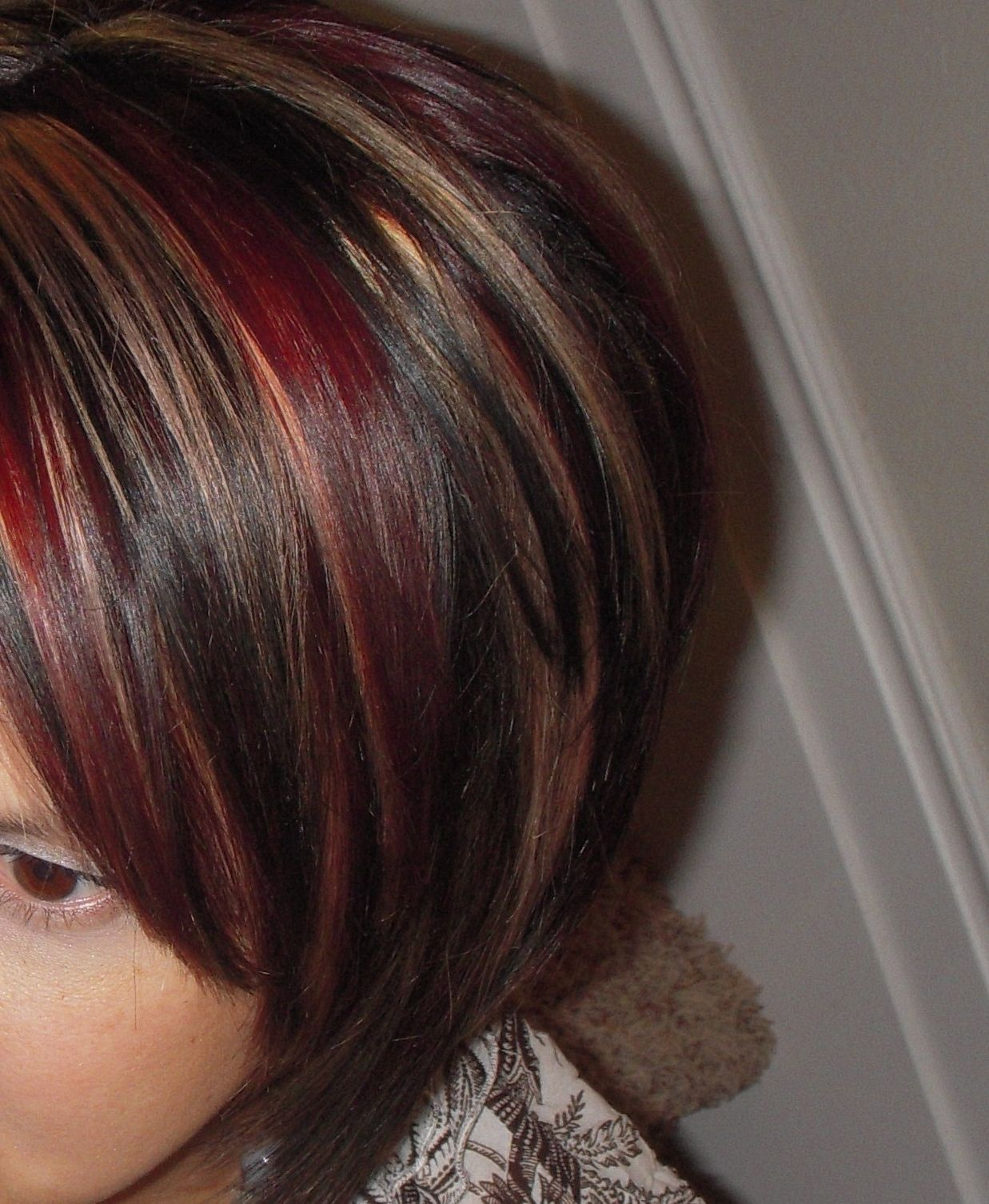 Image Result For Red Highlights In Dark Brown Hair Red