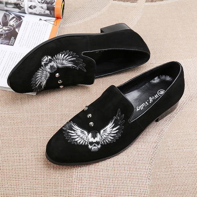 25bd6c6f314f Fashion Men Shoes Black Suede Wings Embroidered Skull Luxury Loafers Rivets Round  Toe Casual Men Flat Shoes