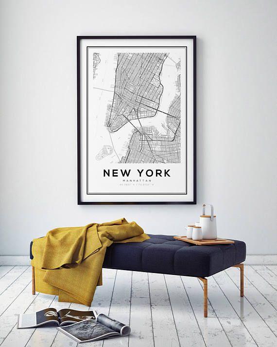 new york map print manhattan nyc map manhattan map poster