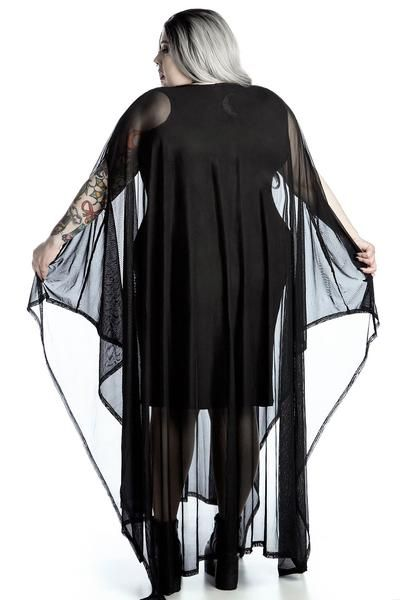 MYSTIC.  Not every witch was burnt at the stake - and Hannah Hell is one of em. - Plus Size.- Luxe Mesh Mix Fabric.- Wide Neck.- Flowing Kimono Sleeve. 'Hannah