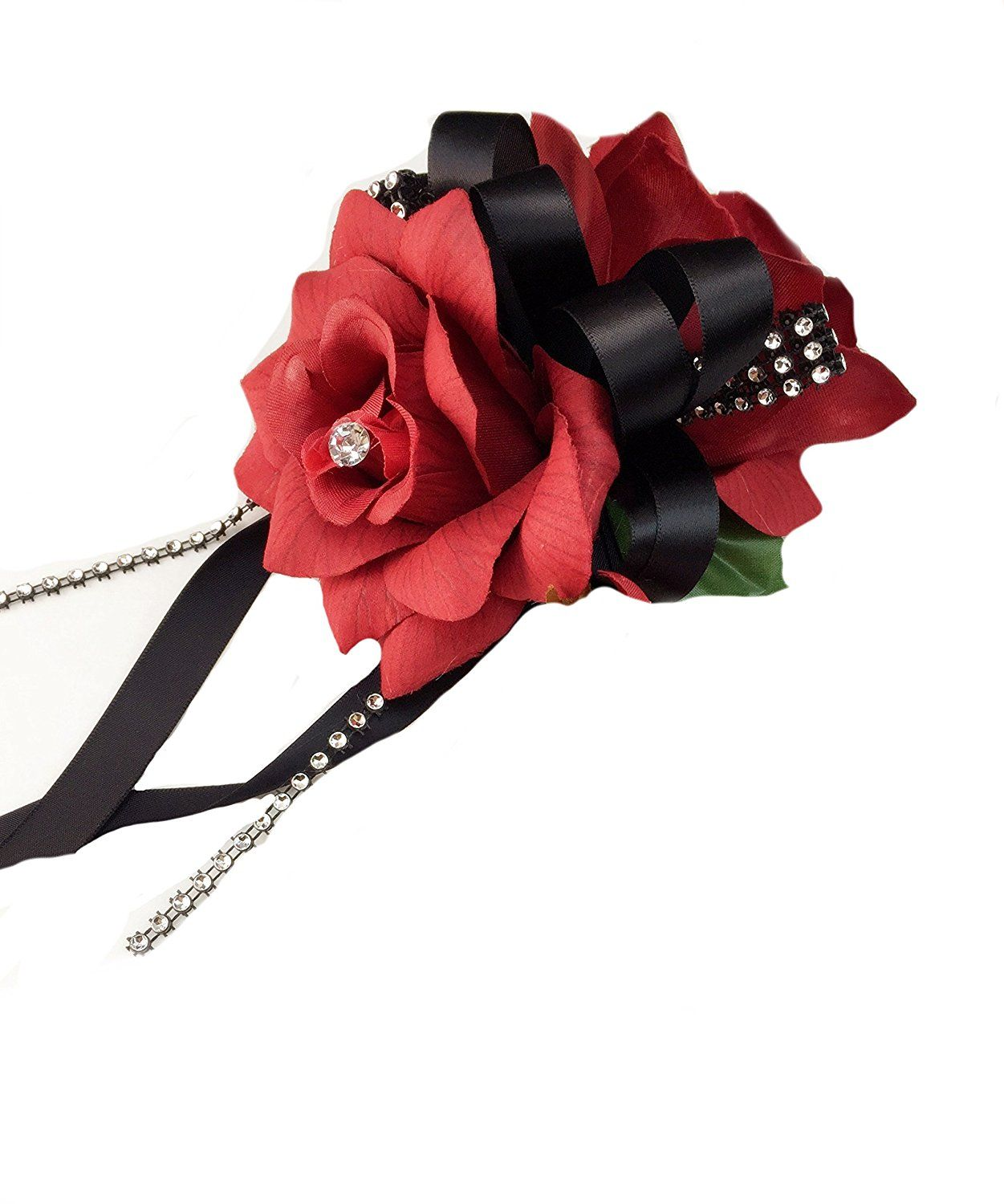 Home decor artificial flowers  Wrist Corsage  Double Red Open Roses  You can find out more