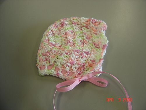 Crochet scalloped baby bonnet - goes great with sweater by same ...