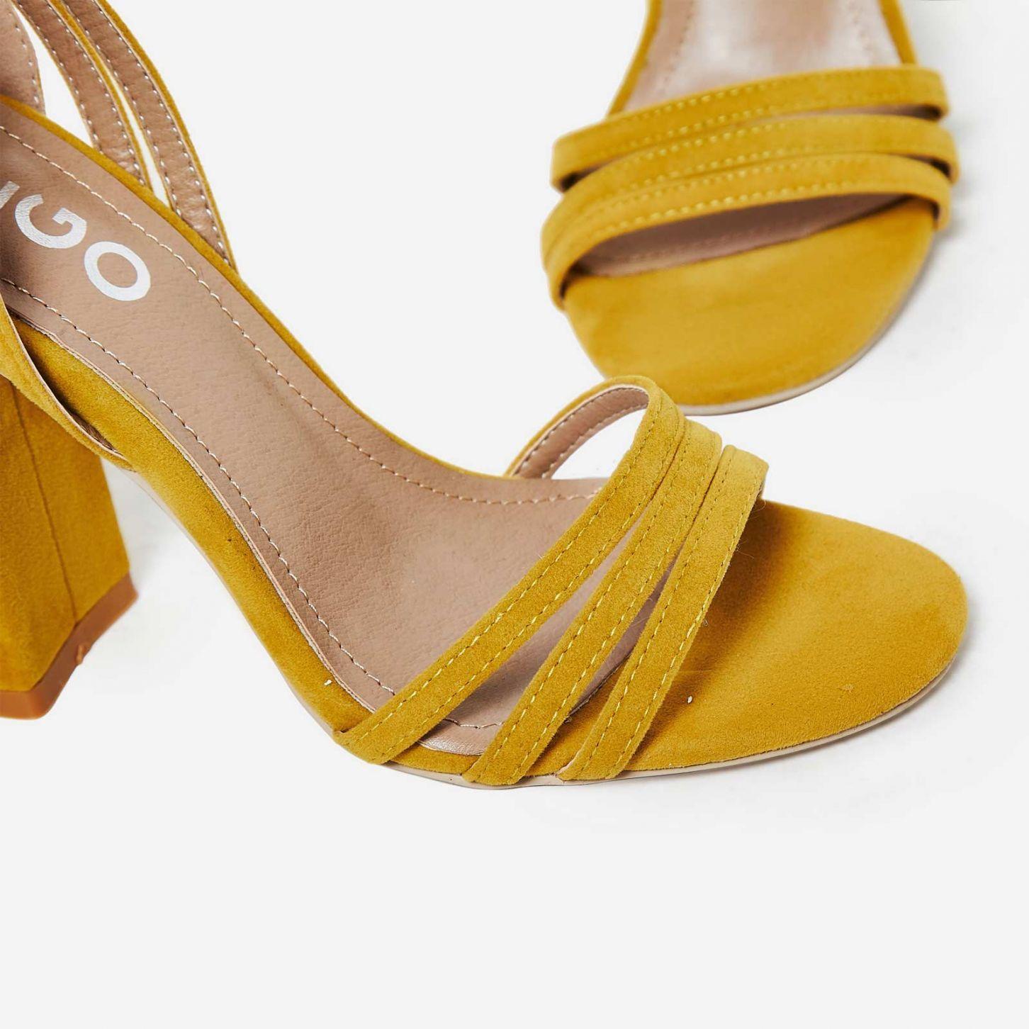 755275d7de5 Sydney Strappy Lace Up Block Heel In Mustard Faux Suede | S H O E S ...