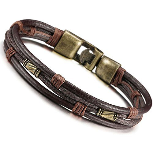 Jstyle Mens Vintage Leather Wrap Wrist Band Brown Rope Bracelet *** Continue…
