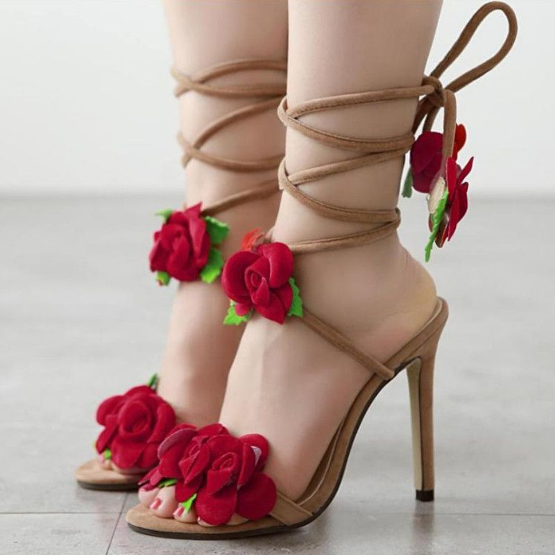 Aliexpress.com  Comprar Correa cruzada Sexy flor tacones altos sandalias  mujeres 11 cm zapatos de verano para mujer las señoras zapatos sandalias  mujeres de ... 934cc864bb2e