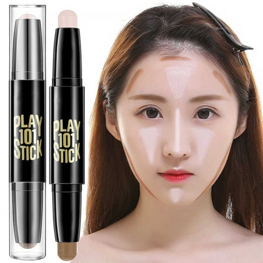 2018 Fashion Face Makeup Concealer Pen Multi Effect Double Head 3d Bronzer Highlighter Stick Texture Contour Pencil Foundation Face Makeup Concealer Concealer Pen Makeup Concealer