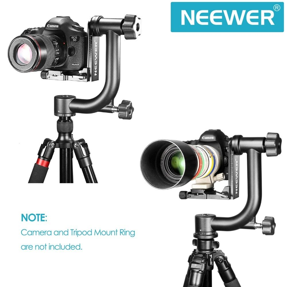 Neewer Professional Heavy Duty Metal 360 Degree Panoramic Gimbal Tripod Head Arca Swiss Standard 1 4 Quick Release Point And Shoot Camera Digital Slr Tripod