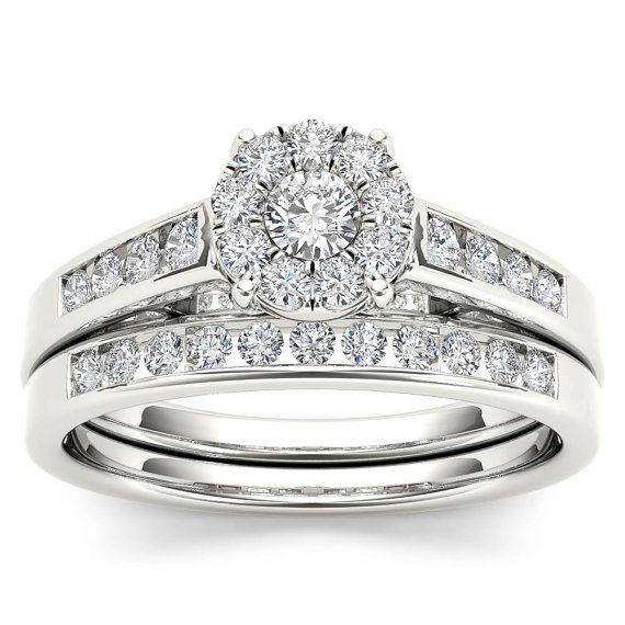 10kt White Gold Diamond Engagement 0 50 Ct Bridal Set Ring Bridal Ring Sets White Gold Rings White Gold Wedding Rings