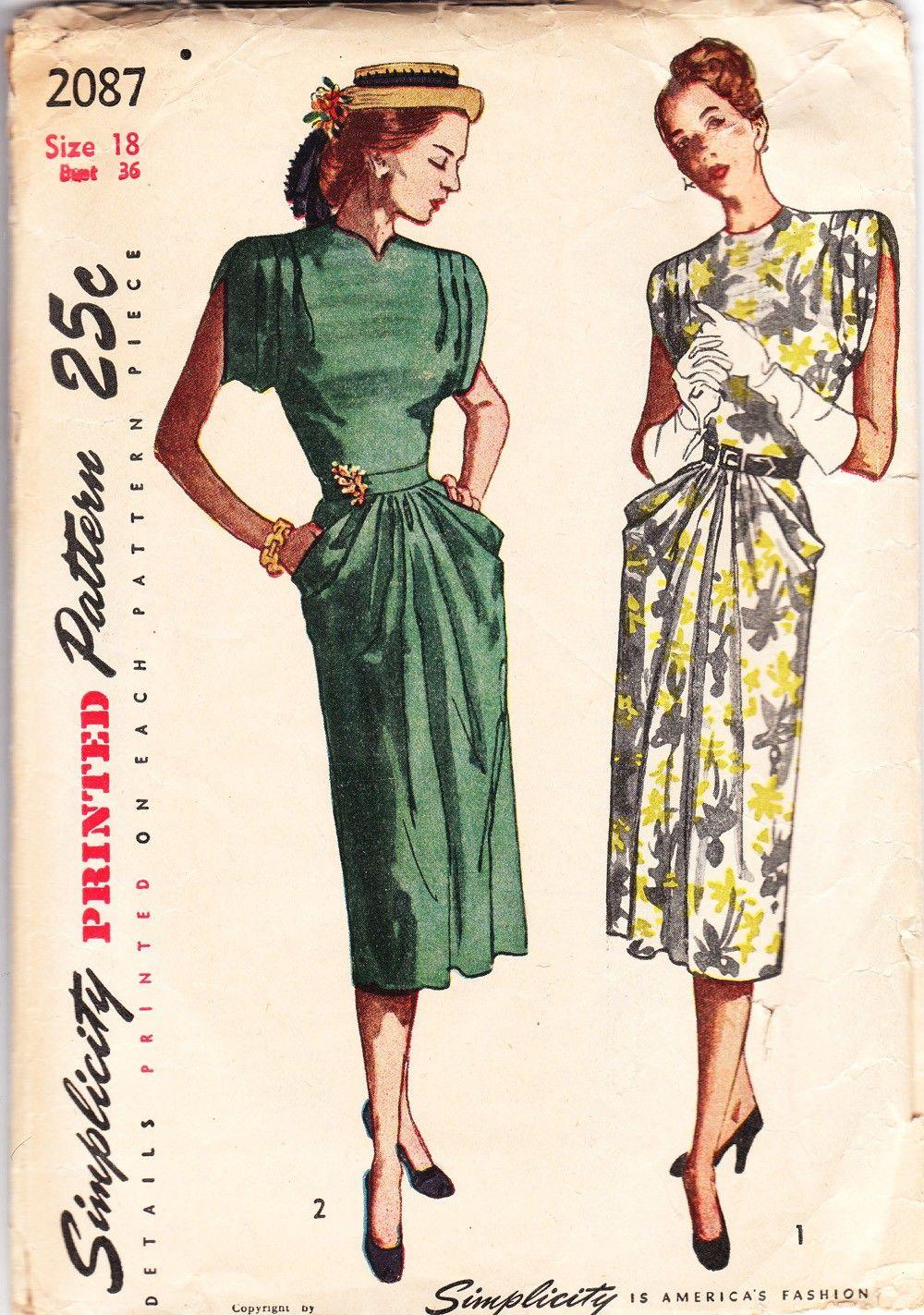 Simplicity 2087, ca. 1947; Sz 14/Bust 32 | mode 20.gs. | Pinterest ...