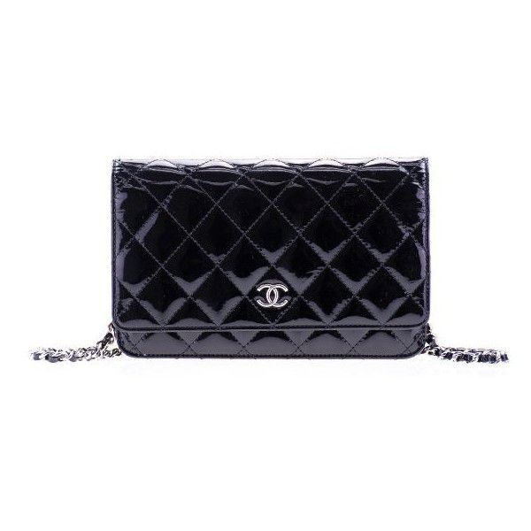 Leather · Chanel Pre-Owned  Black Patent Leather WOC Wallet on Chain Bag ... 5e1970189121a