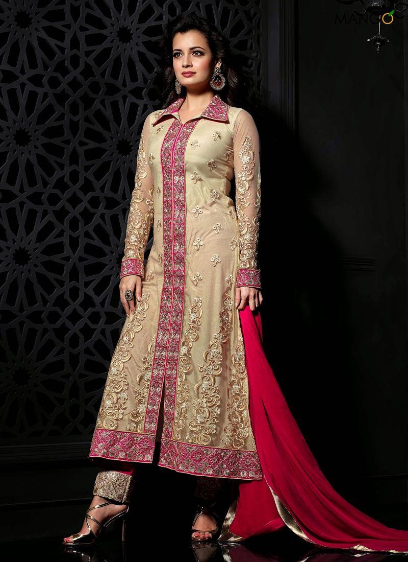 Designer salwar kameez mesmeric peach color net designer suit - Diya Mirza Peach Georgette Designer Suit Code 6104 Price 3967