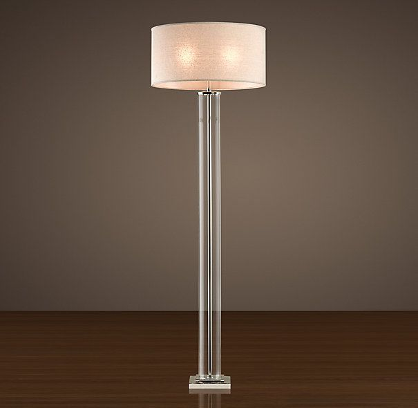 Wonderful French Column Glass Floor Lamp Polished Nickel