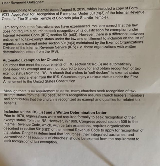 IRS Letter About Our 501(c)(3) Status Plus I Have Filed