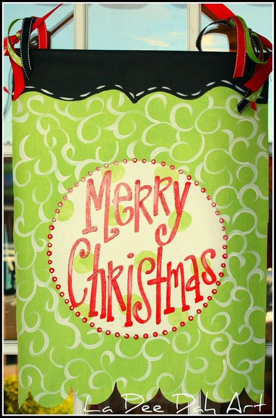 Hand Painted Merry Christmas Banner Sign Door Decor Hanger Personalized Http Bannerandg Merry Christmas Banner Christmas Banners Christmas Canvas