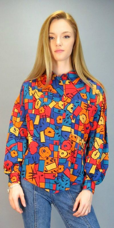 686 Best Images About Hipster Tattoos On Pinterest: Vintage 90s Abstract Blouse Geometric Graffiti Print Long
