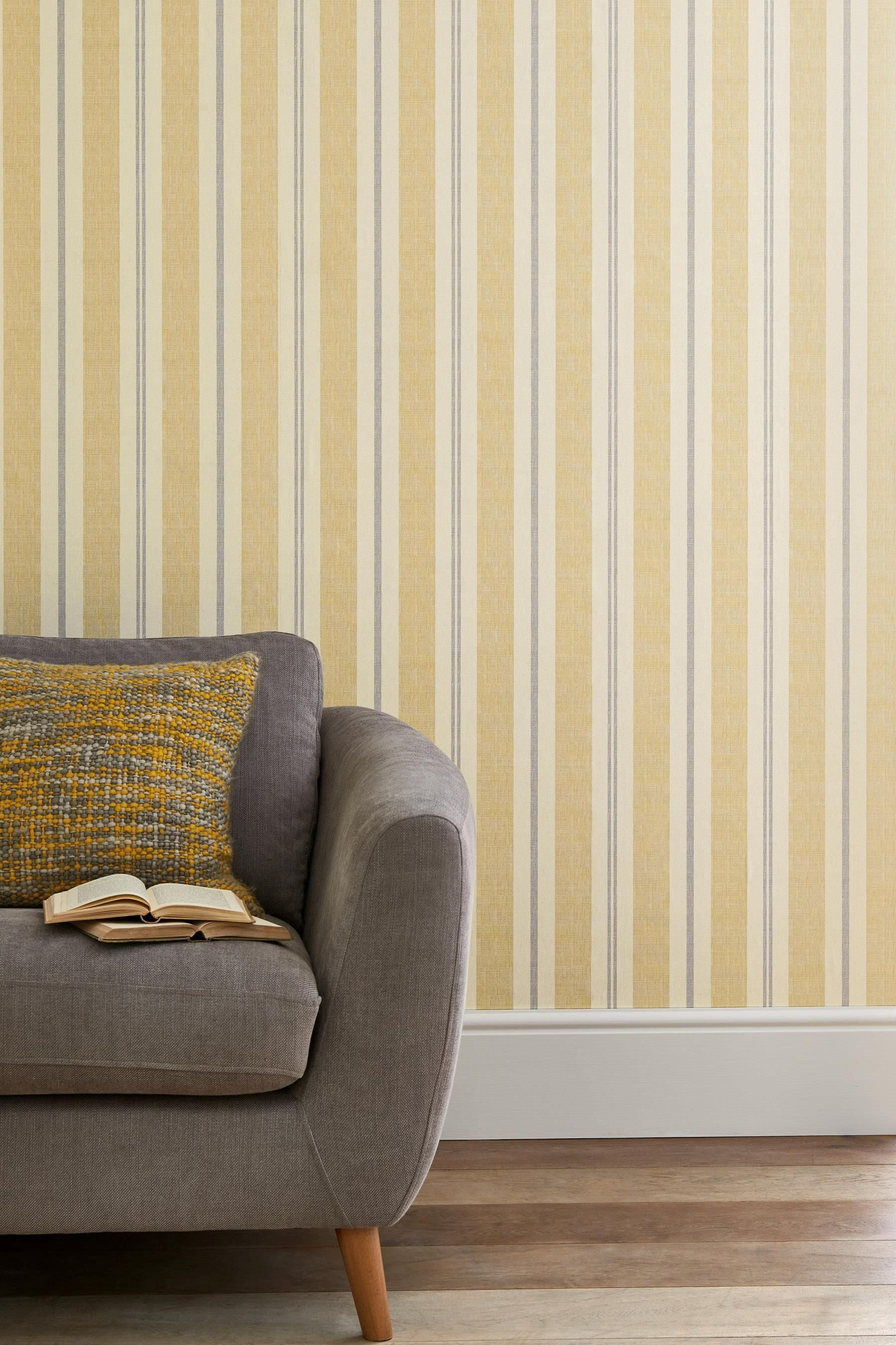Buy Ochre Stripe Wallpaper from the Next UK online shop | Hall ...