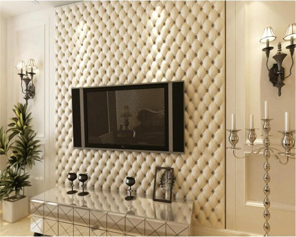 European Style Imitation Leather Wallpapers 3d Soft Bag Wallpaper Bedside Living Room Wallpaper Living Room 3d Wallpaper For Walls Bedroom False Ceiling Design
