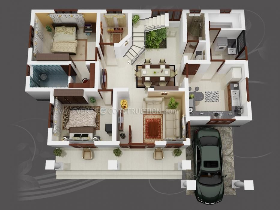 Muy bonito ideas en planos pinterest 3d house plans Hd home design 3d