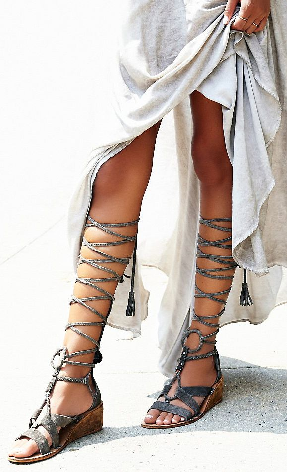 17c958a1eea Shop Women s Free People Gray size 8 Sandals at a discounted price at  Poshmark. Lace up gladiators