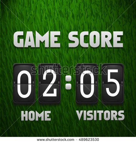 Football soccer scoreboard on grass background Sport template - scoreboard template