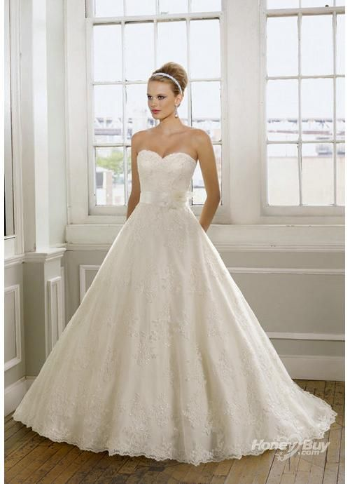 Vintage Lace Sweetheart Ivory Ball Gown Wedding Dresses Usd ...