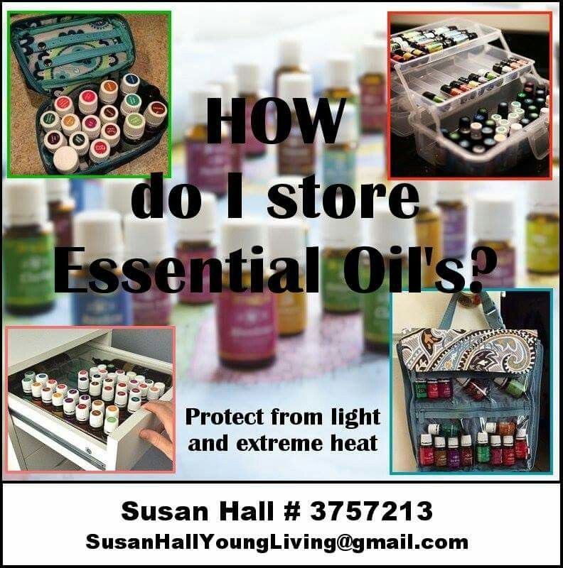 HOW DO I STORE ESSENTIAL OILS?  Avoid keeping your oils in the car, near windows, or next to any heat source for extended periods of time. Prolonged exposure to sunlight and extreme heat can change the chemical composition and evaporation rate. https://www.facebook.com/Susan-Hall-Young-Living-Essential-Oils-1542095179423546/