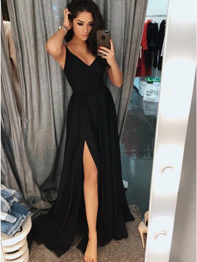 Simple a line v neck black prom dresses with slit black formal