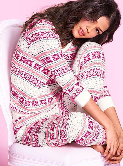 The Fireside Long Jane Pajama ivory/red fairisle size small | Wish ...