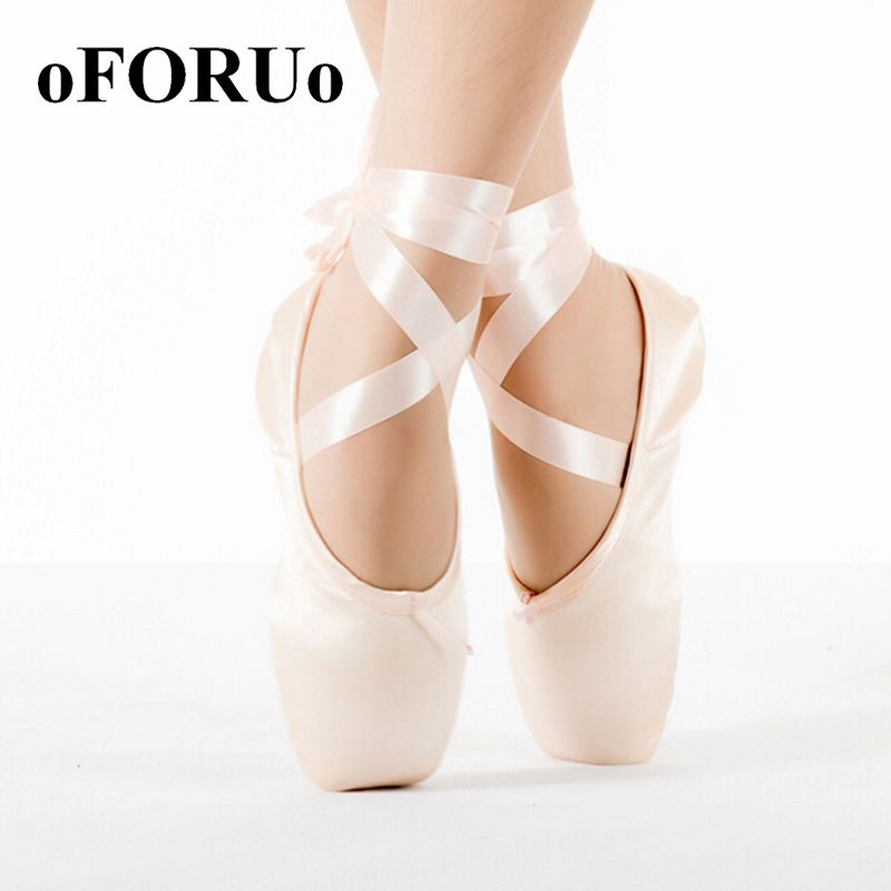 Child And Adult Professional Ballet Pointe Dance Shoes Woman With Ribbons
