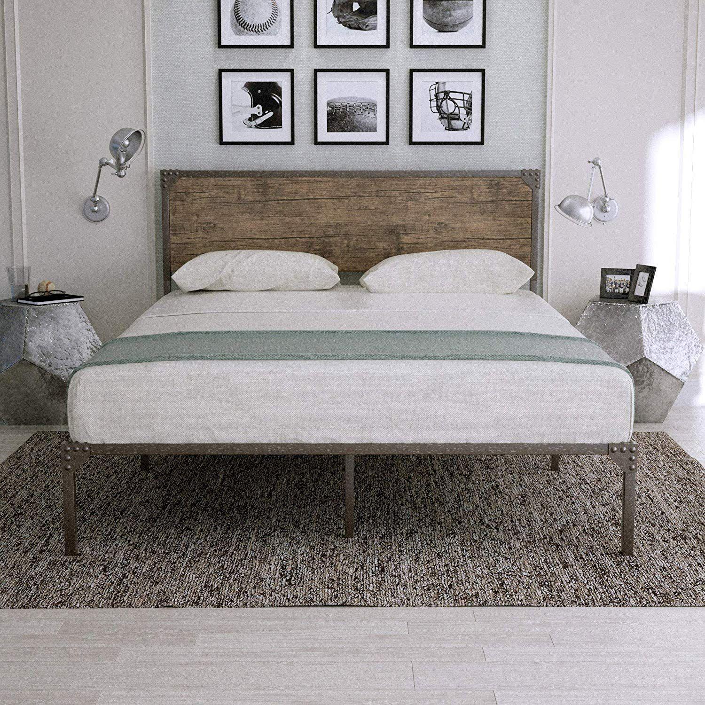 Urest Industrial Full Size Minimalist Bed Frame With Headboard Bed Frame And Headboard Bed Frame Mattress Minimalist Bed Frame Full bed frame and headboard
