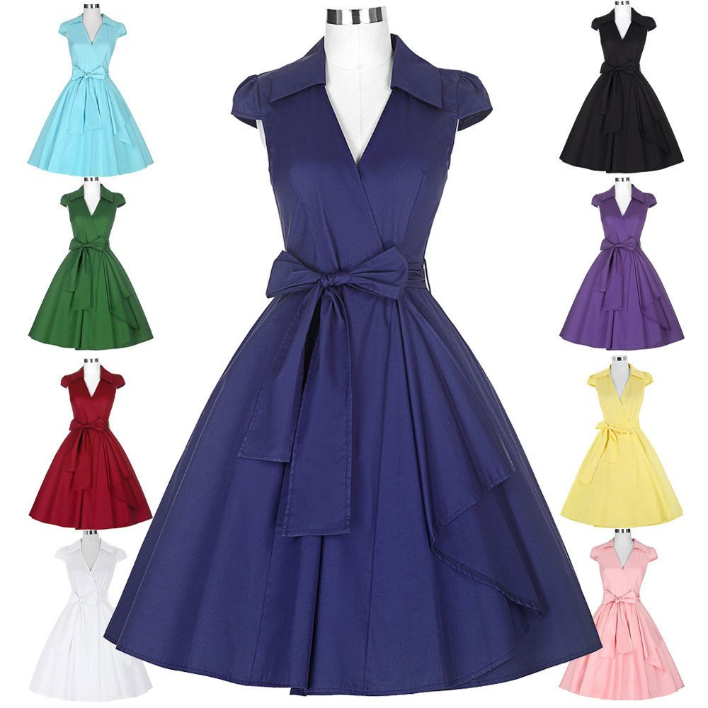 Vintage housewife s s swing pinup evening dress party cocktial