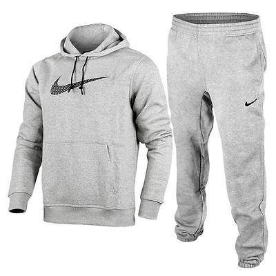 Nike Mens Big Swoosh Full Tracksuit Fleece Hooded Jogging Bottoms Black  Large 551040b0c30