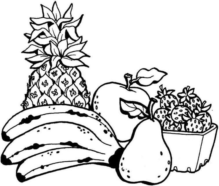 fresh fruit coloring pages for kids coloring pages - Fruit Coloring Page