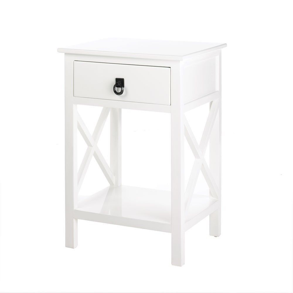 White Mission Style Night Stand End Side Accent Table Country ...
