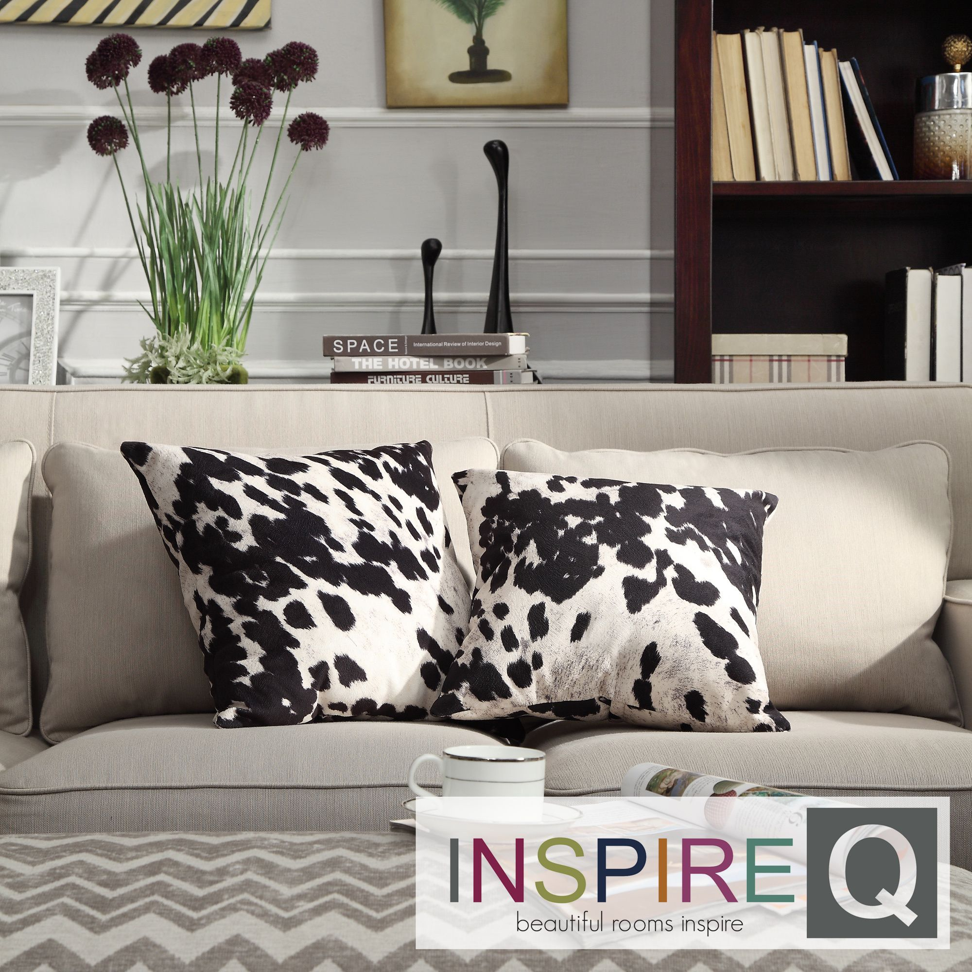 Black and White Cow Hide Print Decorative Pillow (Set of