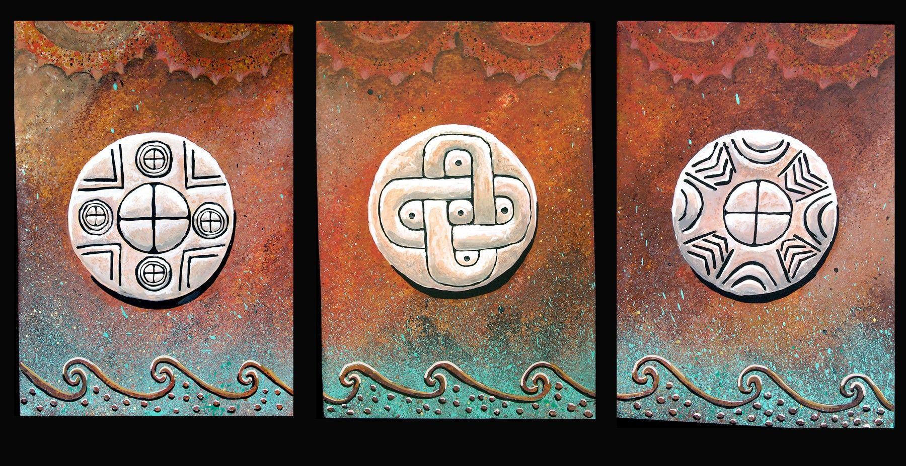 Creekfire sun circles three paintings muskogee