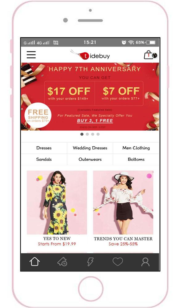 Get Tidebuy App To Enjoy More Discount Wedding Dress Men Cheap Clothes Website Features