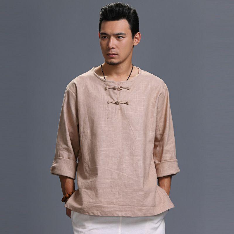 Men Linen T-Shirt – Retro Round Neck Chinese style Autumn Men's T-shirt ozaN6tB