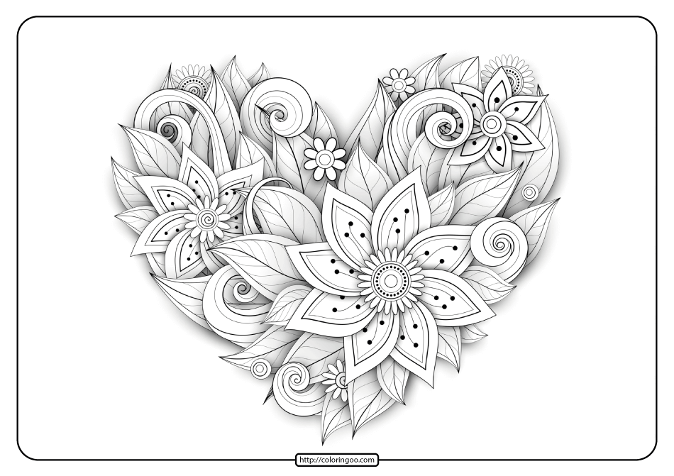 Free Printable Flower Heart Pdf Coloring Page Flower Printable Coloring Pages Free Printable Coloring Pages